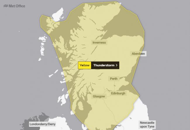 Another weather warning issued for thunder for North Ayrshire