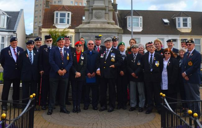 Legion members and local residents commemorate VJ Day in Saltcoats.