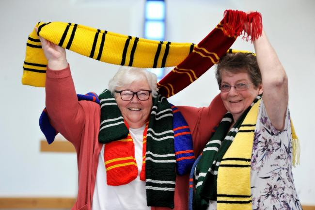 Mansefield Trinity Church, Kilwinning, Knit and Natter group have been knitting Harry Potter scarves over the Summer for kids at the Glasgow Children's Hospital, Jean Hackney and Maragret Brown.