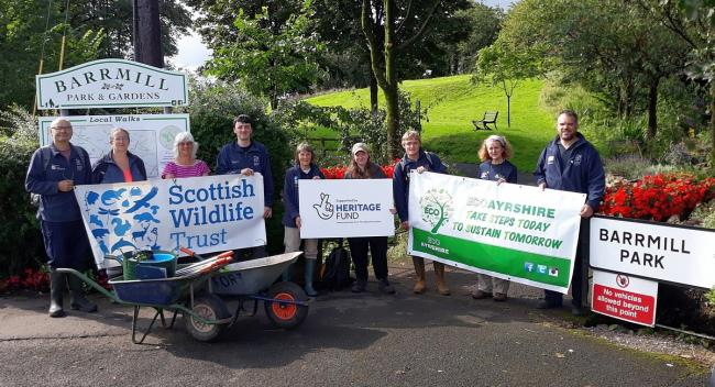 Barrmill Conservation Group and the Scottish Wildlife Trust work on a new wetland planting project in Barrmill Park for Eco Ayrshire 2019.