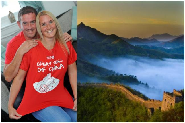Claire Taylor and her husband doing the Great Wall of China walk for MND, from Ardrossan.
