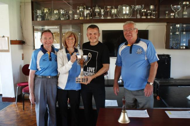 Ardrossan Bowling Club winners celebrate WD Jones triples