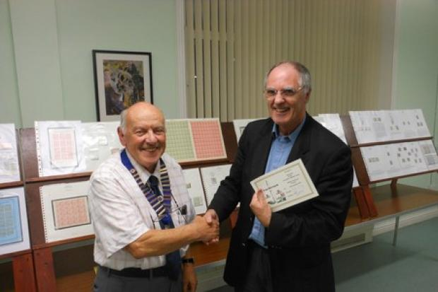 Largs and District Stamp Club welcomed Dr Brain Dow of the Lanarkshire Philatelic Society. Pictured with club president, Willie King.