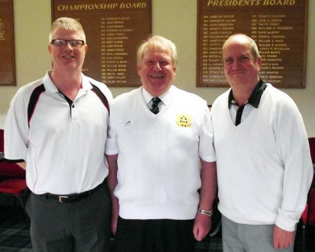 Dalry Bowling Club closing day: Winners Lawrence Beattie and Duncan Hutchinson pictured with Gent's President Peter Hutchinson.