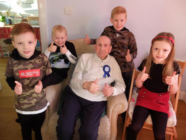Charlie Jamison with his four great great grandchildren Keir, Finn, Ryan and Eilidh.