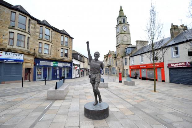 Ardrossan and Saltcoats Herald: Saltcoats, Friday, 270320 , Bobby Lennox statue