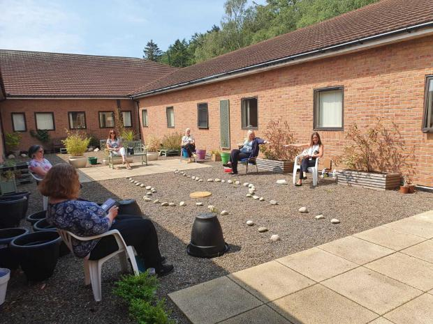 Ardrossan and Saltcoats Herald: Socially distanced lunch together in the hospital courtyard