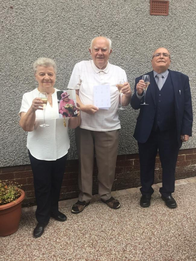 William and Marnie Waldron celebrate their Diamond Wedding in Dalry, with Depute Provost Robert Barr.