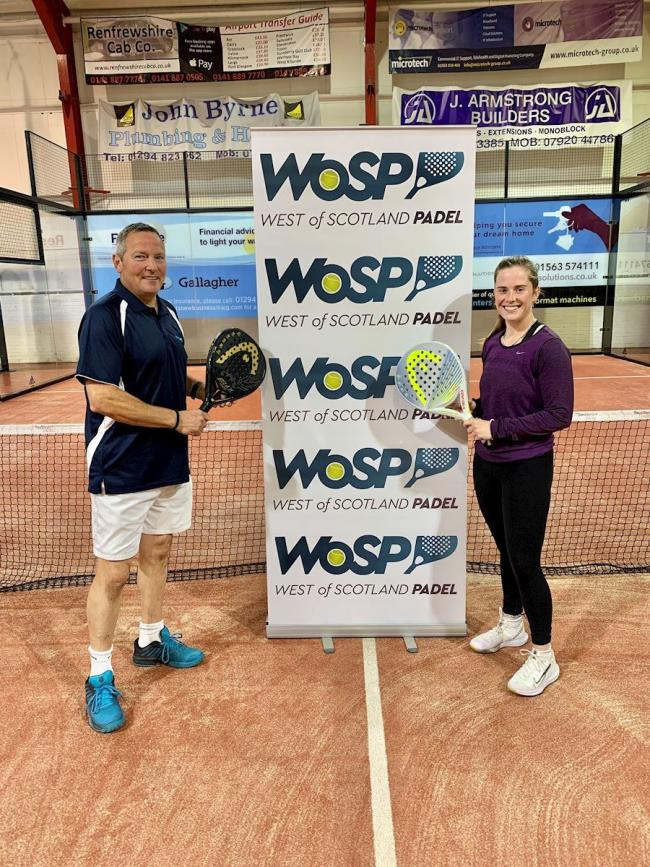 Padel coaches John Byrne and Meghan Montgomerie.