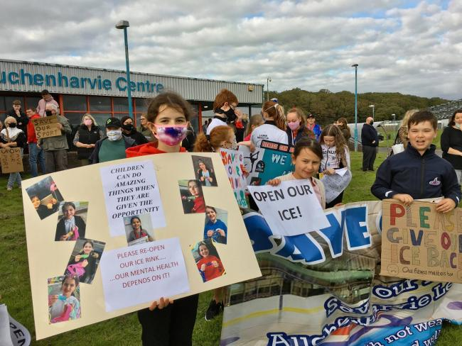 Protest held outside Auchenharvie Leisure Centre this month.