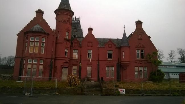 The outside of the derelict Seafield House.