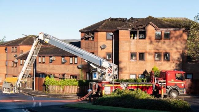 The fire tore through the Medine Court flats.