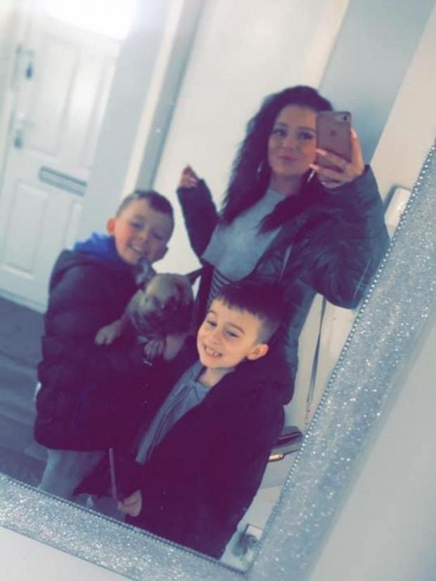 Ardrossan and Saltcoats Herald: Lyndsay McGibbon with her sons and their dog Lucie