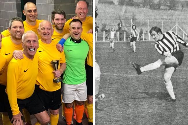 St Matthew's Academy staff team with David McIlroy holding the Man of the Match trophy in 2019 (left), and David scoring a goal for the Rovers in 1974 (right, credit George McGrattan.)