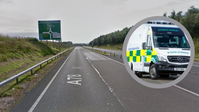 Two people rushed to hospital after major crash on A78 at Stevenston