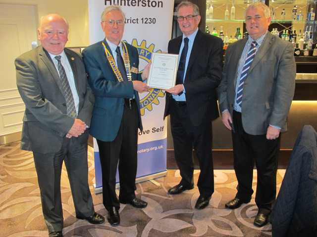Rotary club honour the late Anne Wilkinson with award to husband Richard
