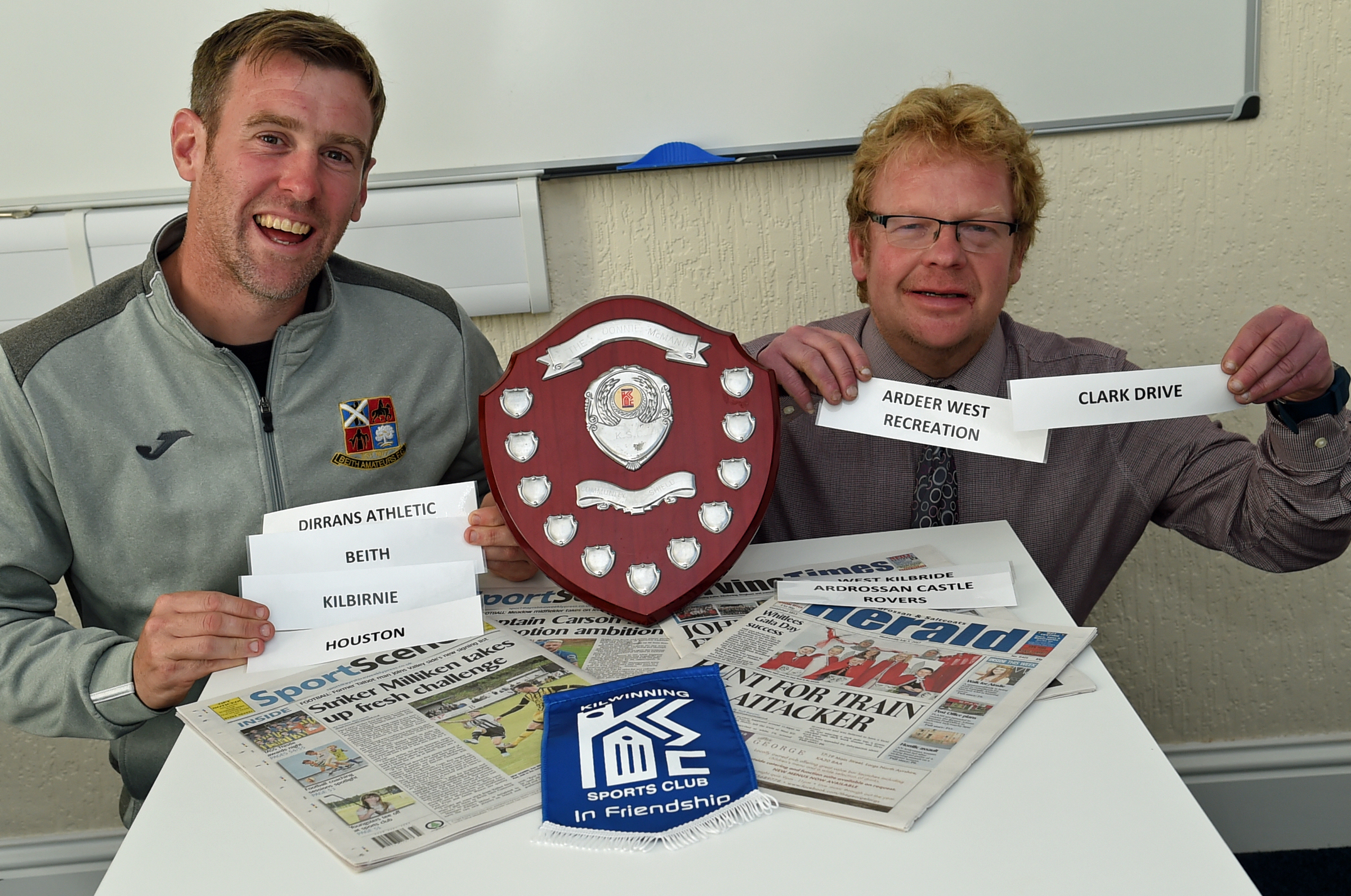 MAKING DRAW: Colin Hunter (left) of KSC is pictured with sports reporter Stewart McConnell.