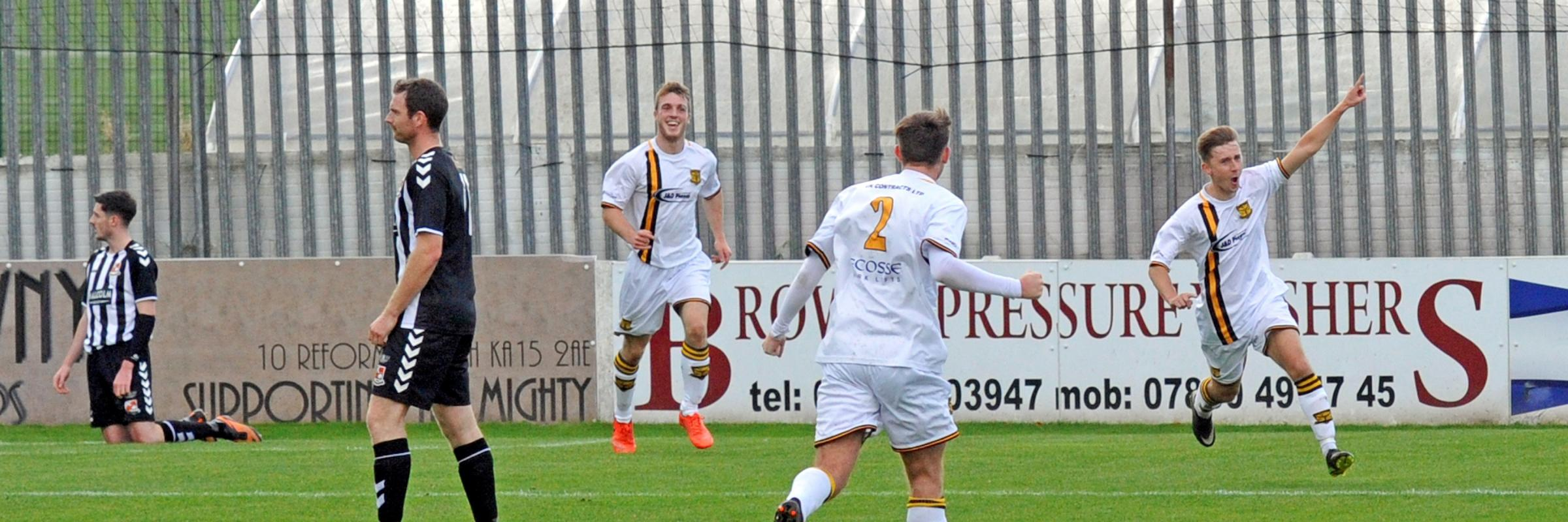 LADESIDE LEVEL: Jon Scullion celebrates after equalising for Kilbirnie to make it 1-1 at Bellsdale Park.