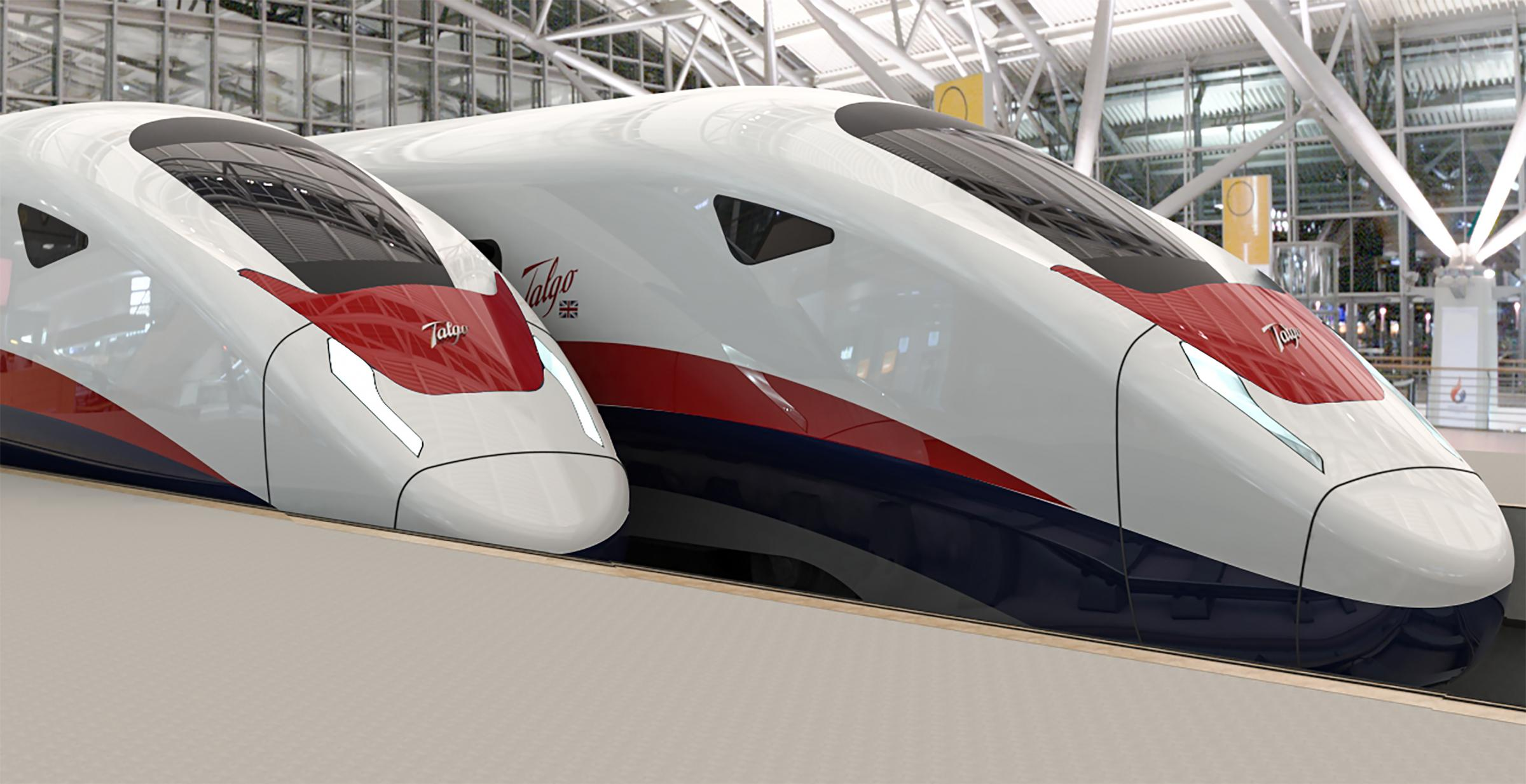An artist's impression of Talgo's new AVRIL UK train.