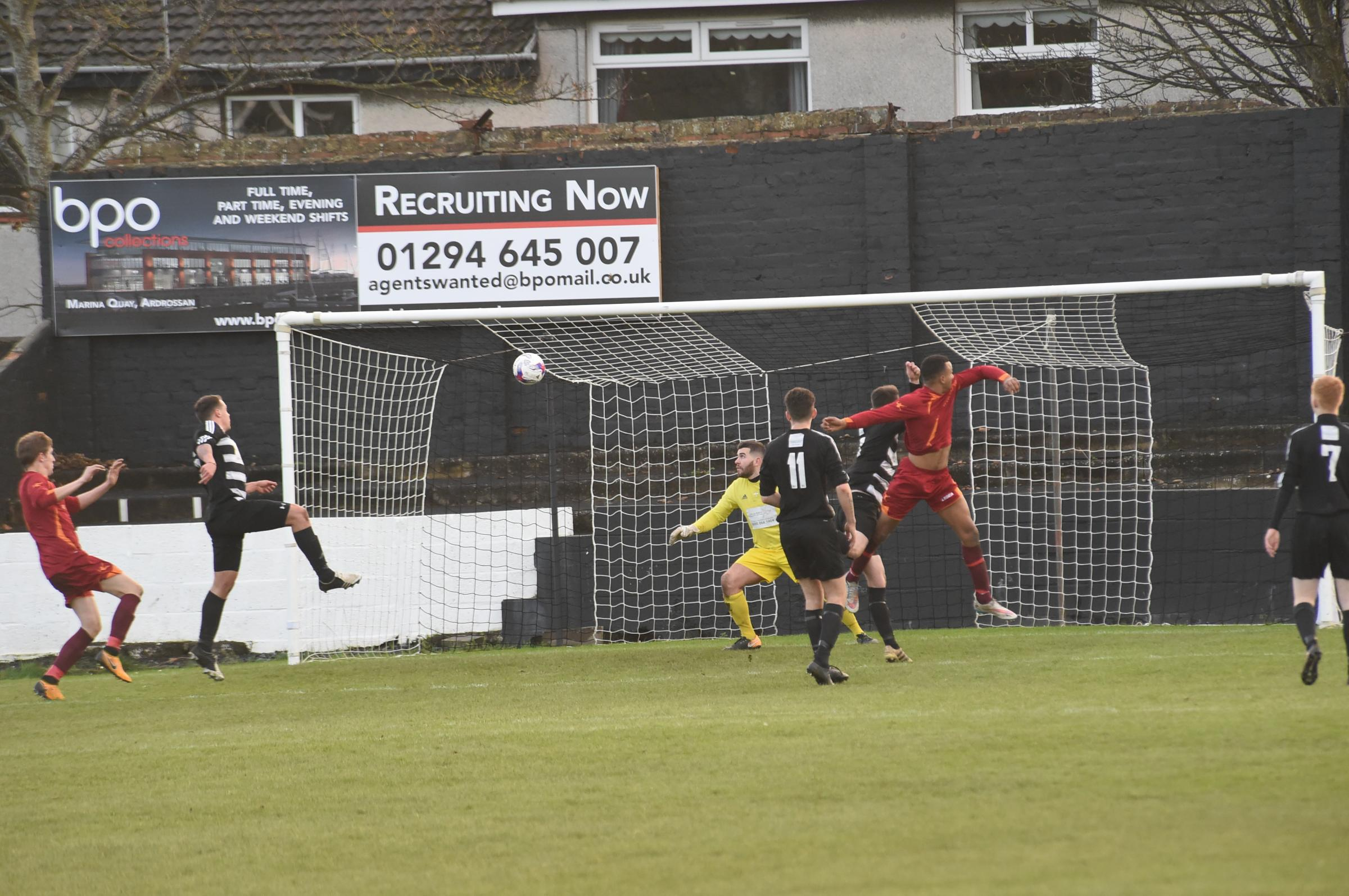 LEAD DOUBLED: Dominik Chiedu heads Saltcoats Vics into a 2-0 lead at Winton Park.