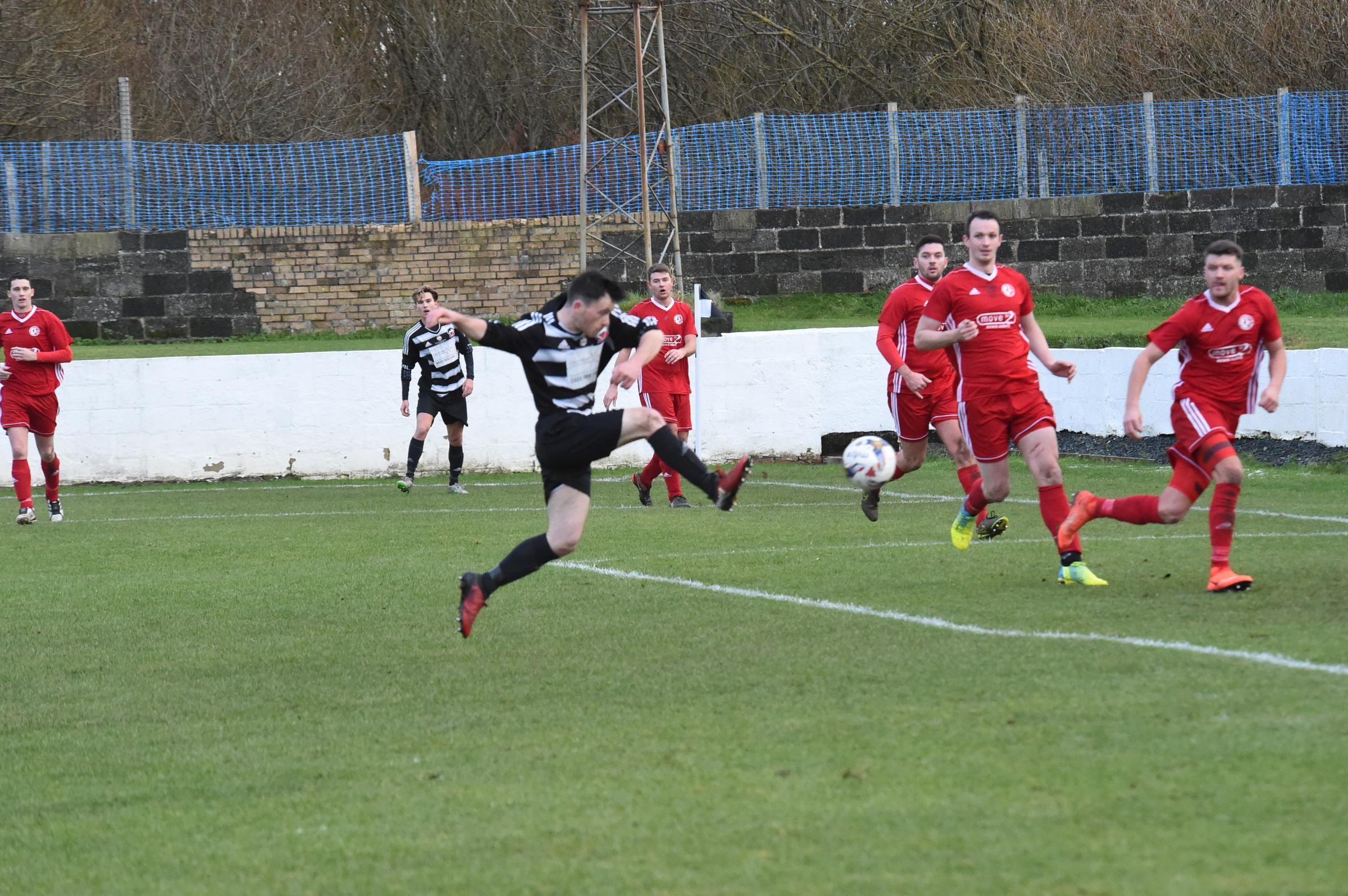 BREAKTHROUGH MADE: Thomas Donovan fires Ardrossan Winton Rovers ahead en route to victory against Ardeer Thistle.