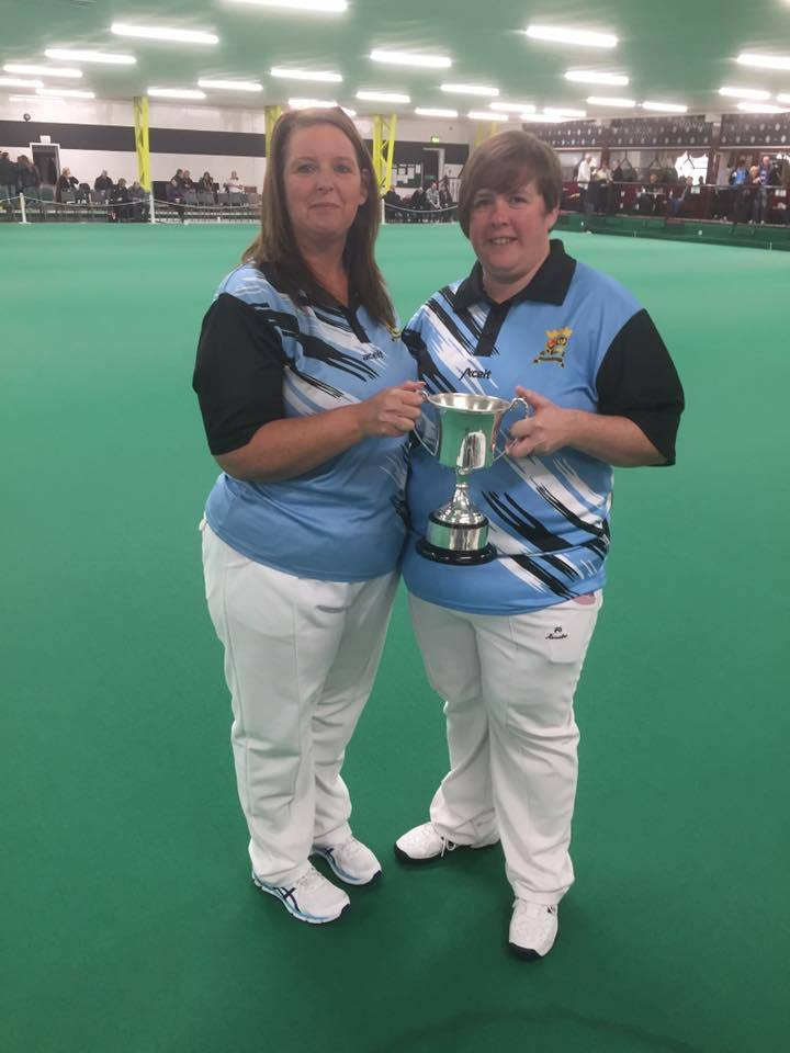 CHAMPION SHOW: Lawra Cox (left) and Wendy Grant show off their silverware after success at Blantyre on Sunday.
