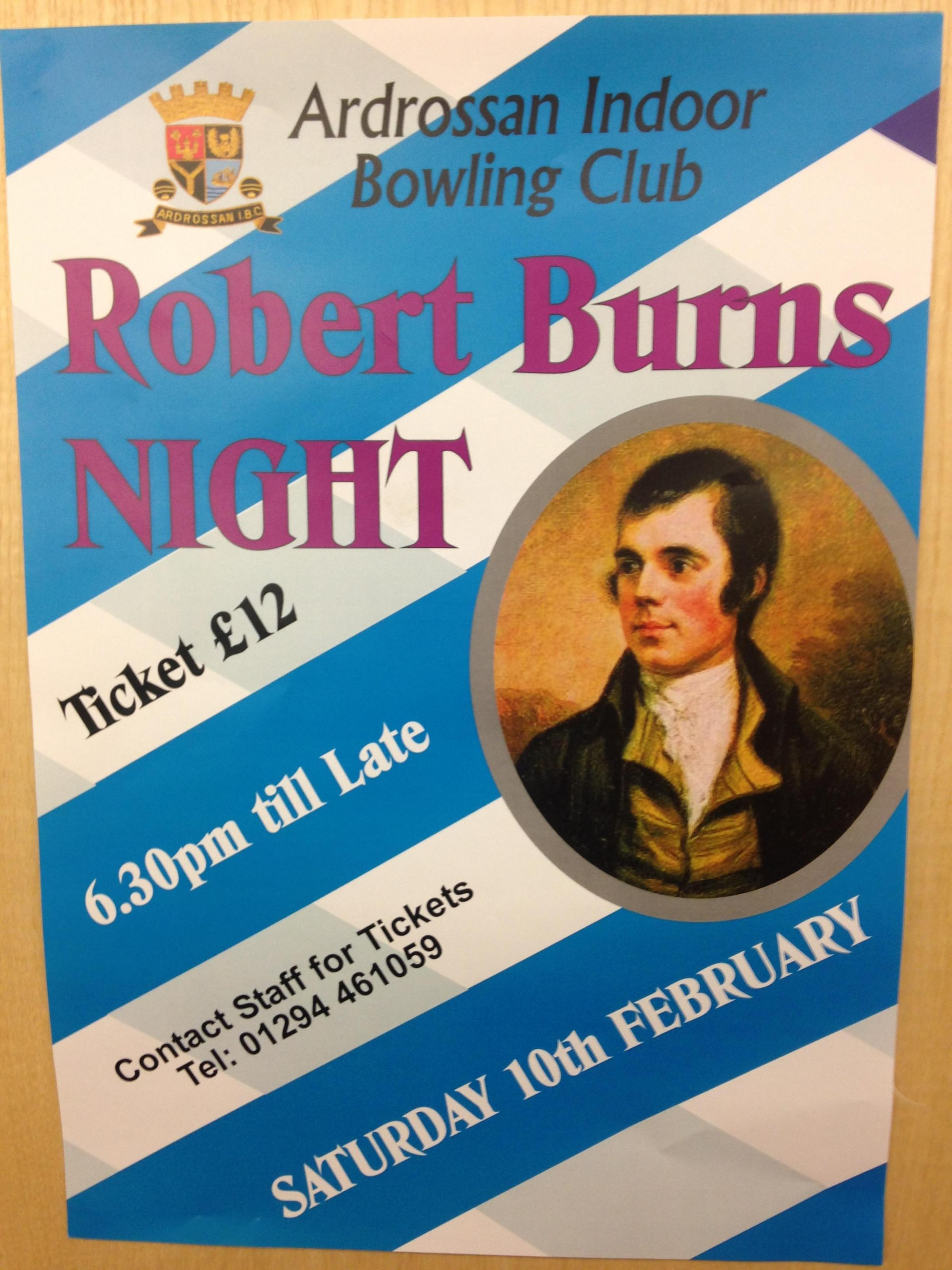 Indoor Bowling Club to hold Burns Supper
