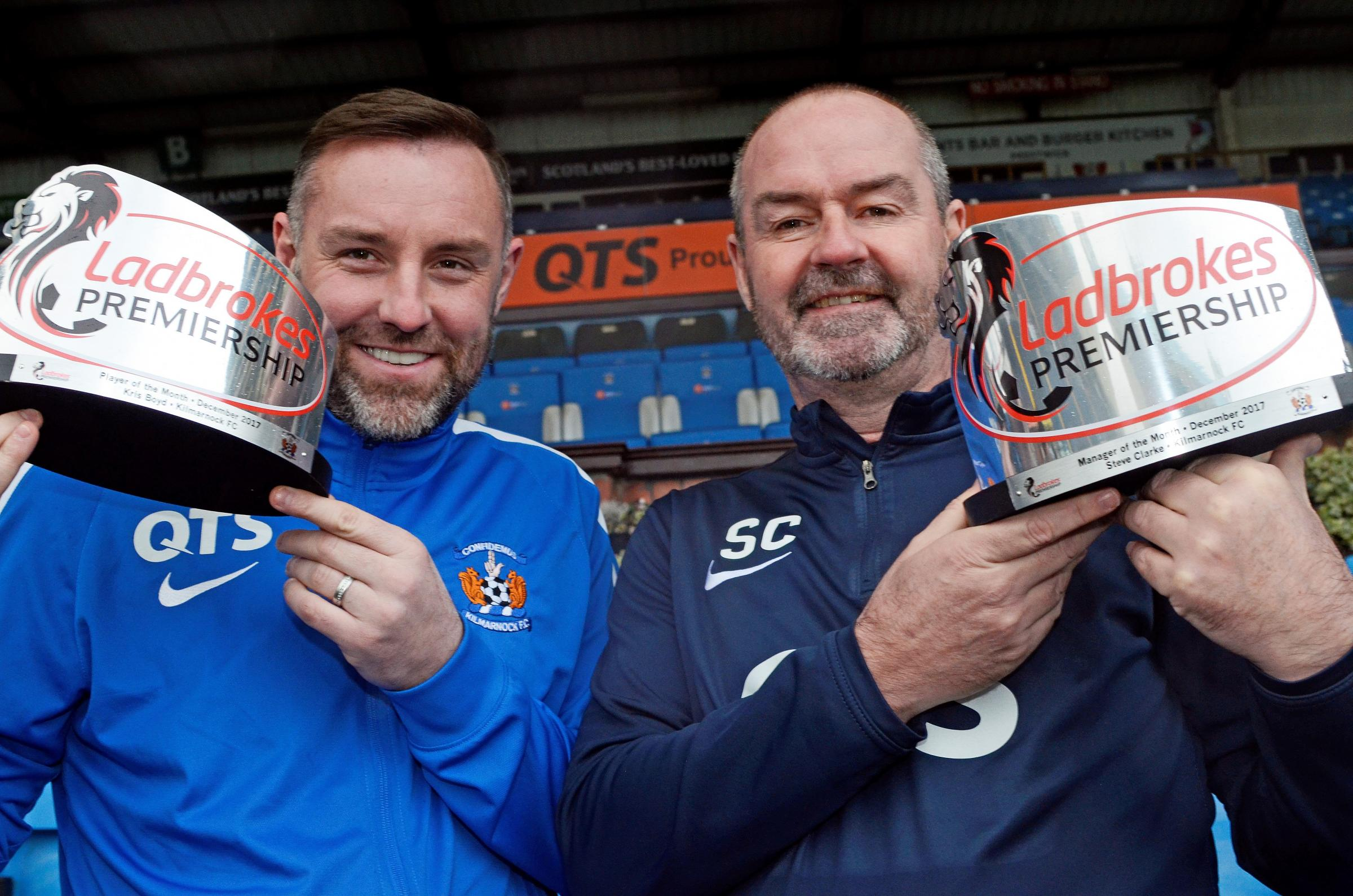 DOUBLE CELEBRATION: Ladbrokes Premiership Player of the  Month Kris Boyd is pictured with Manager of the Month Steve Clark at Rugby Park on Monday.