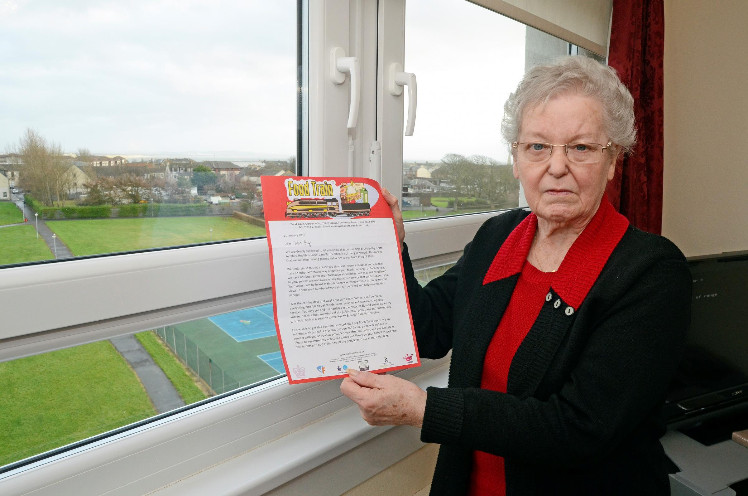 Saltcoats pensioner fears she could end up in a home after Food Train funding cut