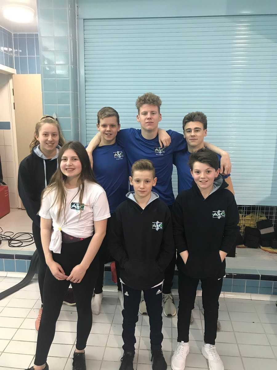 SWIMMING STARS: Front row (from left) Rachel McGuire, Adam Currie and Gavin Friels. Back row (from left) Eve Mair, Fraser Kelly, Rory Dickson and Evan Clark.
