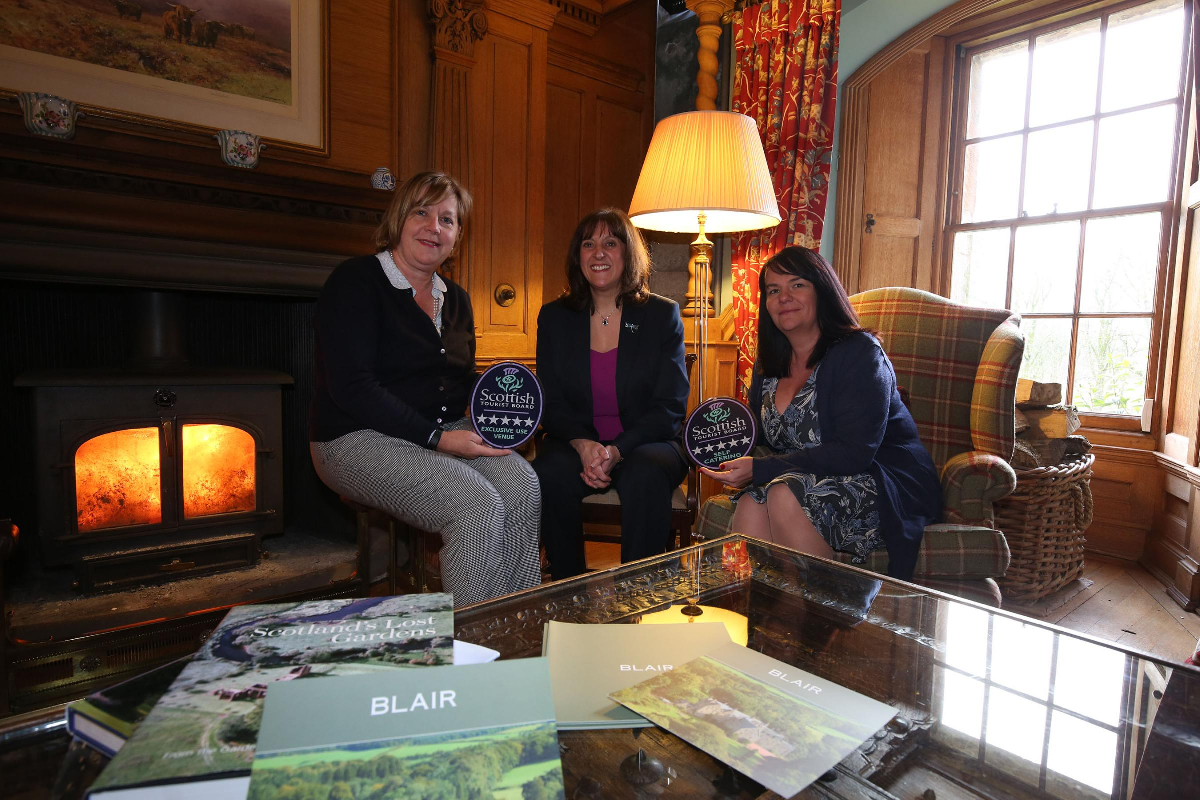 Sallie Hendry (left) and Annemarie Cullinane (right) from Blair Estate with VisitScotland Regional Director Annique Armstrong. Photo: Alister Firth
