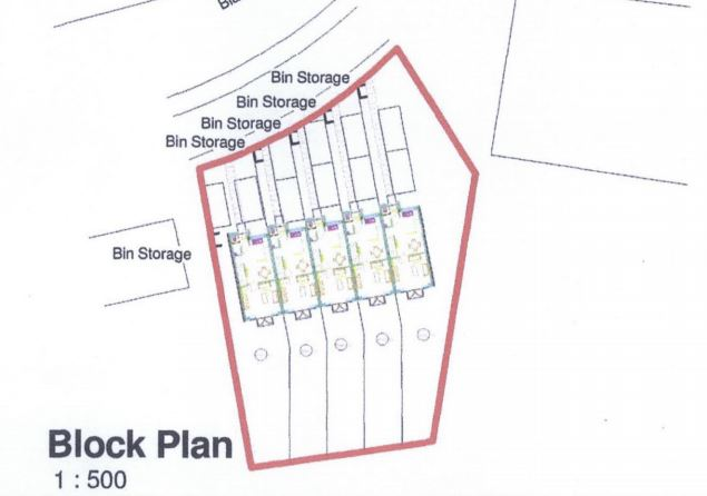 Block plan for five terraced houses