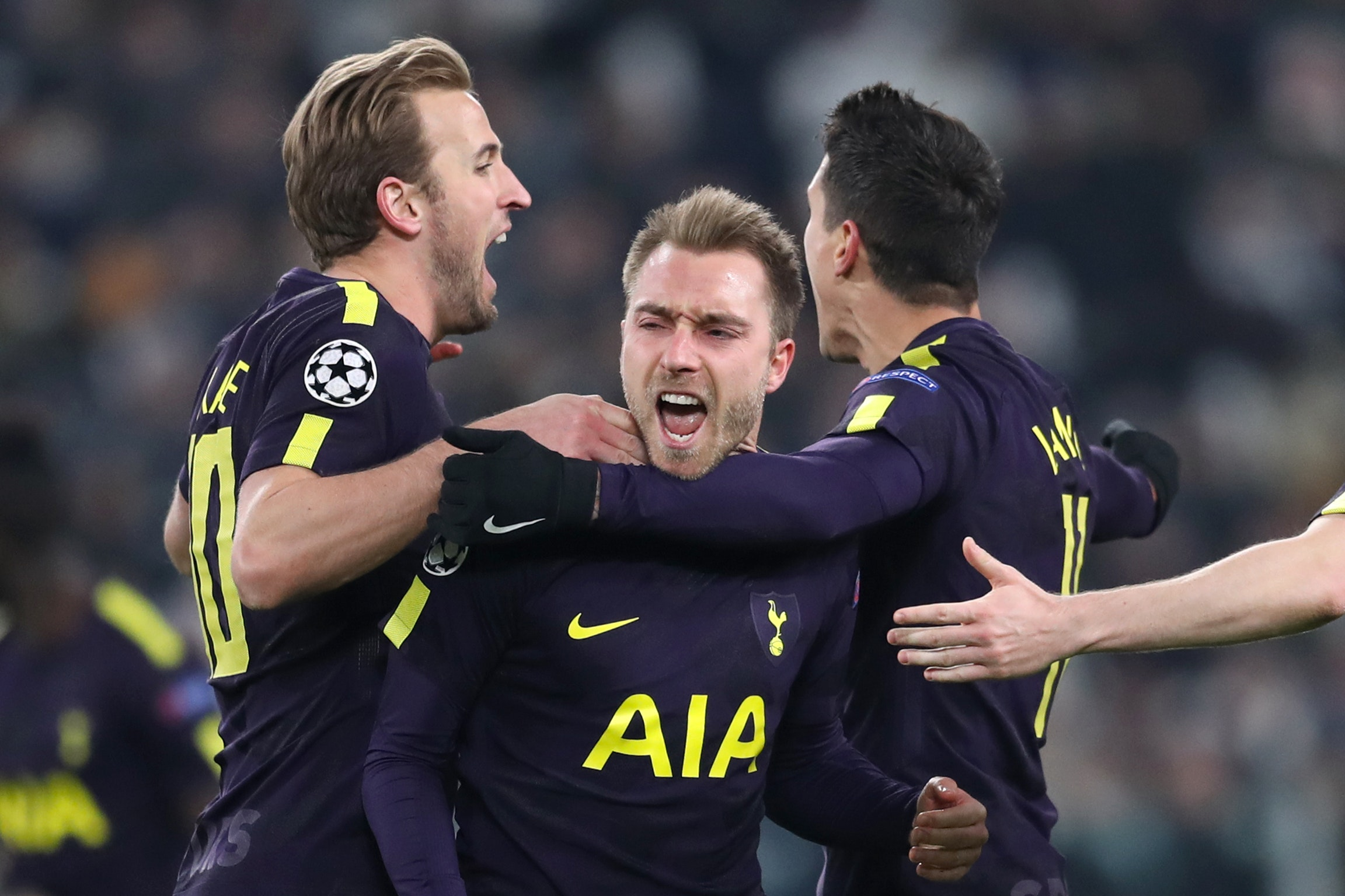 Tottenham's Christian Eriksen (centre) celebrates scoring his side's second goal against Juventus (Adam Davy/Empics)