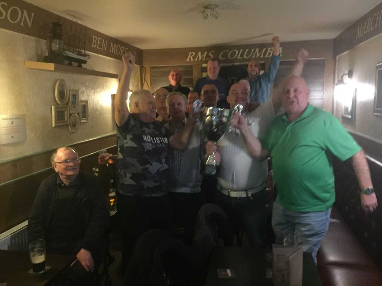 JUMPING JACK'S: The Jack's Corner tean are pictured recently following their League Cup victory over the Castlehill Vaults.