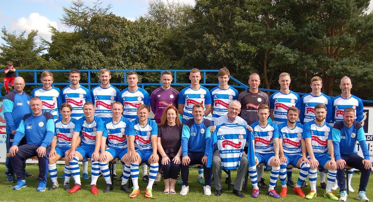 CAMERA CALL: The Kilwinning Rangers squad are pictured earlier in the season at Abbey Park.