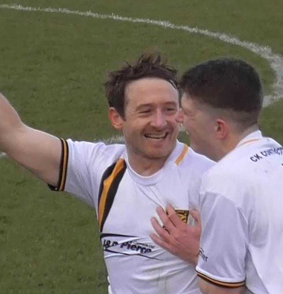 MILESTONE MAN: David Anderson pictured (left) celebrating a goal for Kilbirnie is set to make his 250th appearance for the Garnock Valley club.
