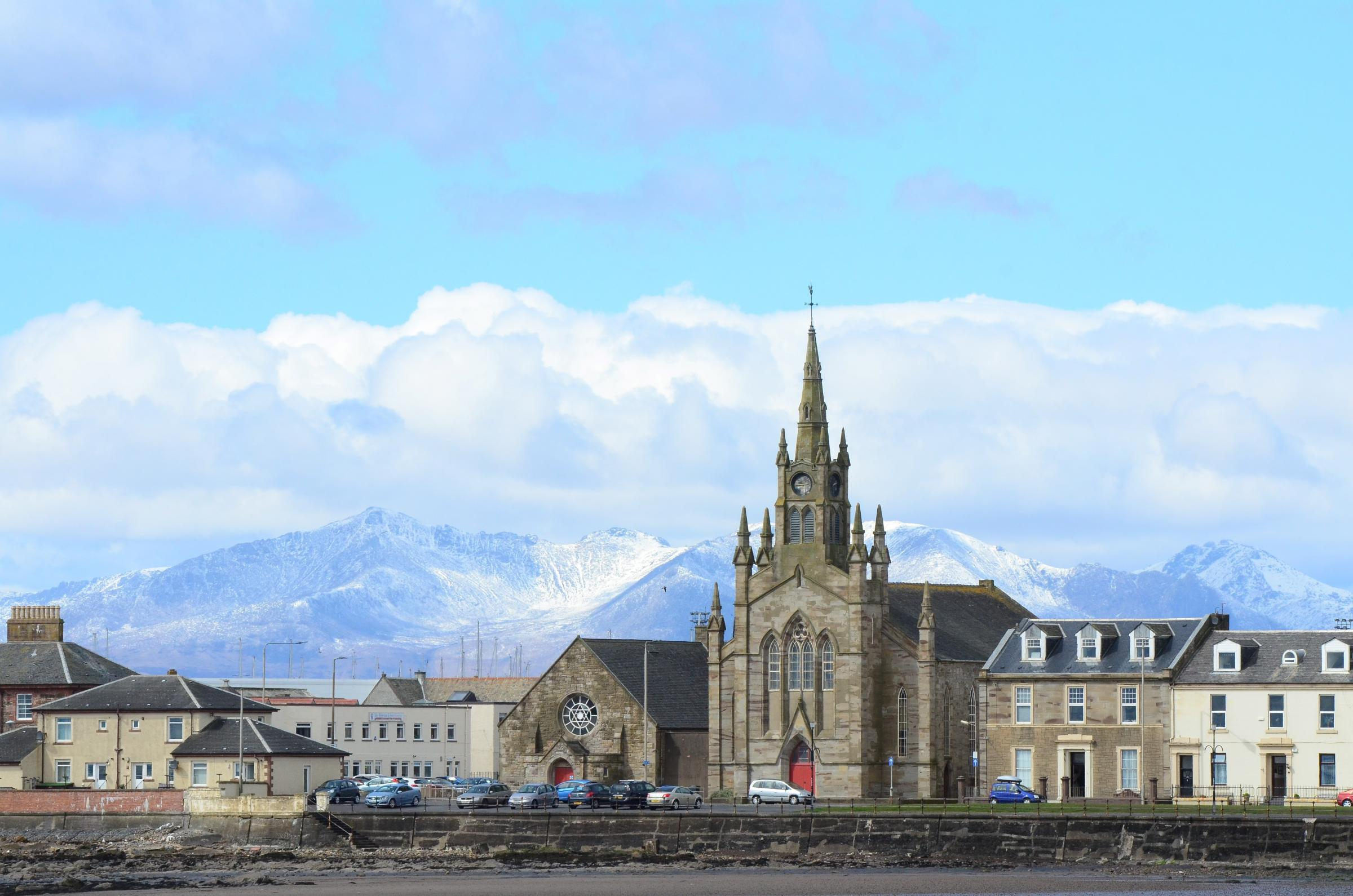Barony church Ardrossan with Arran in the background..