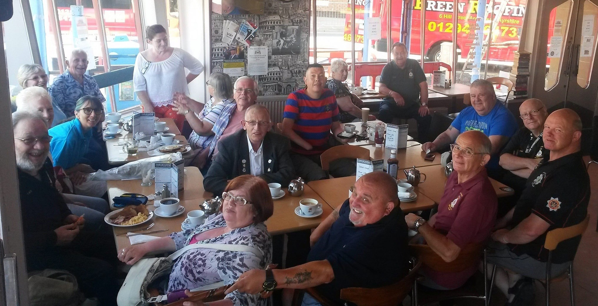 Veterans at the Breakfast Club in the Melbourne Cafe, Saltcoats.