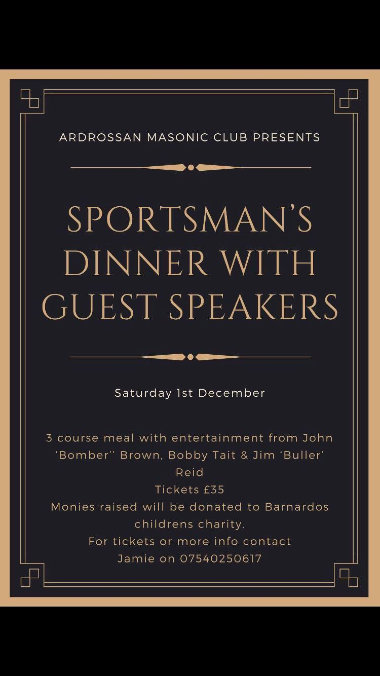 Top speakers coming to Ardrossan for sportsman's dinner