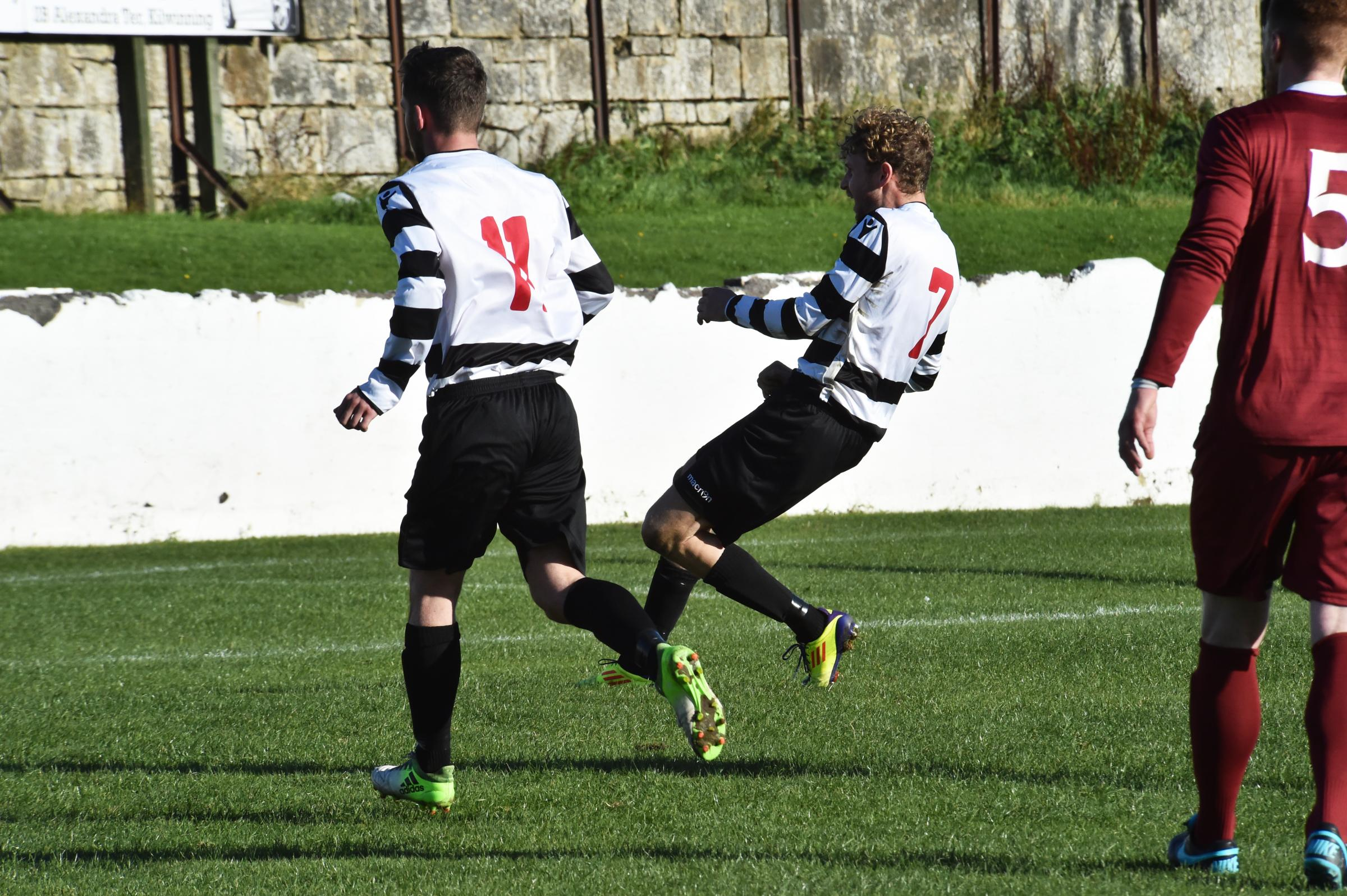 ON TARGET: David Smith puts Ardrossan Winton Rovers ahead from the penalty spot.
