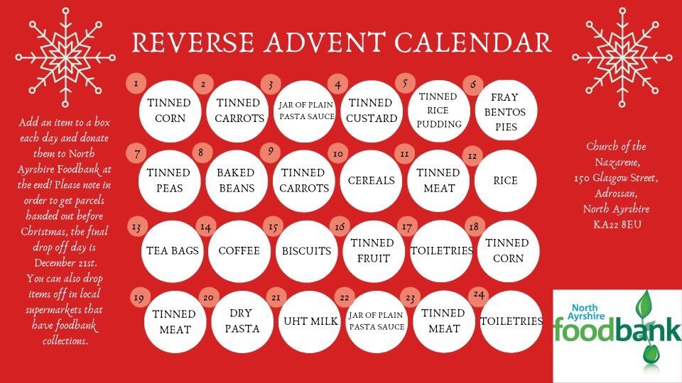 APPEAL: Reverse Advent Calendar to help the North Ayrshire Foodbank