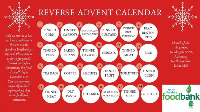 Appeal Reverse Advent Calendar To Help The North Ayrshire