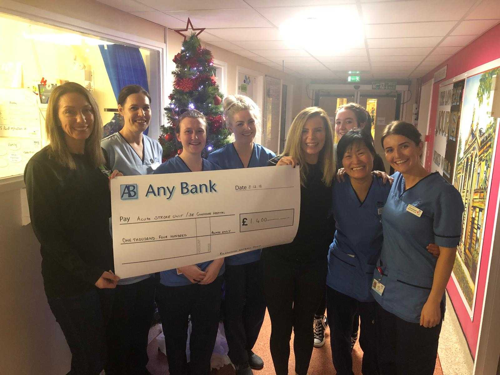 Kilwinning netball team raise £1,400 for stroke unit