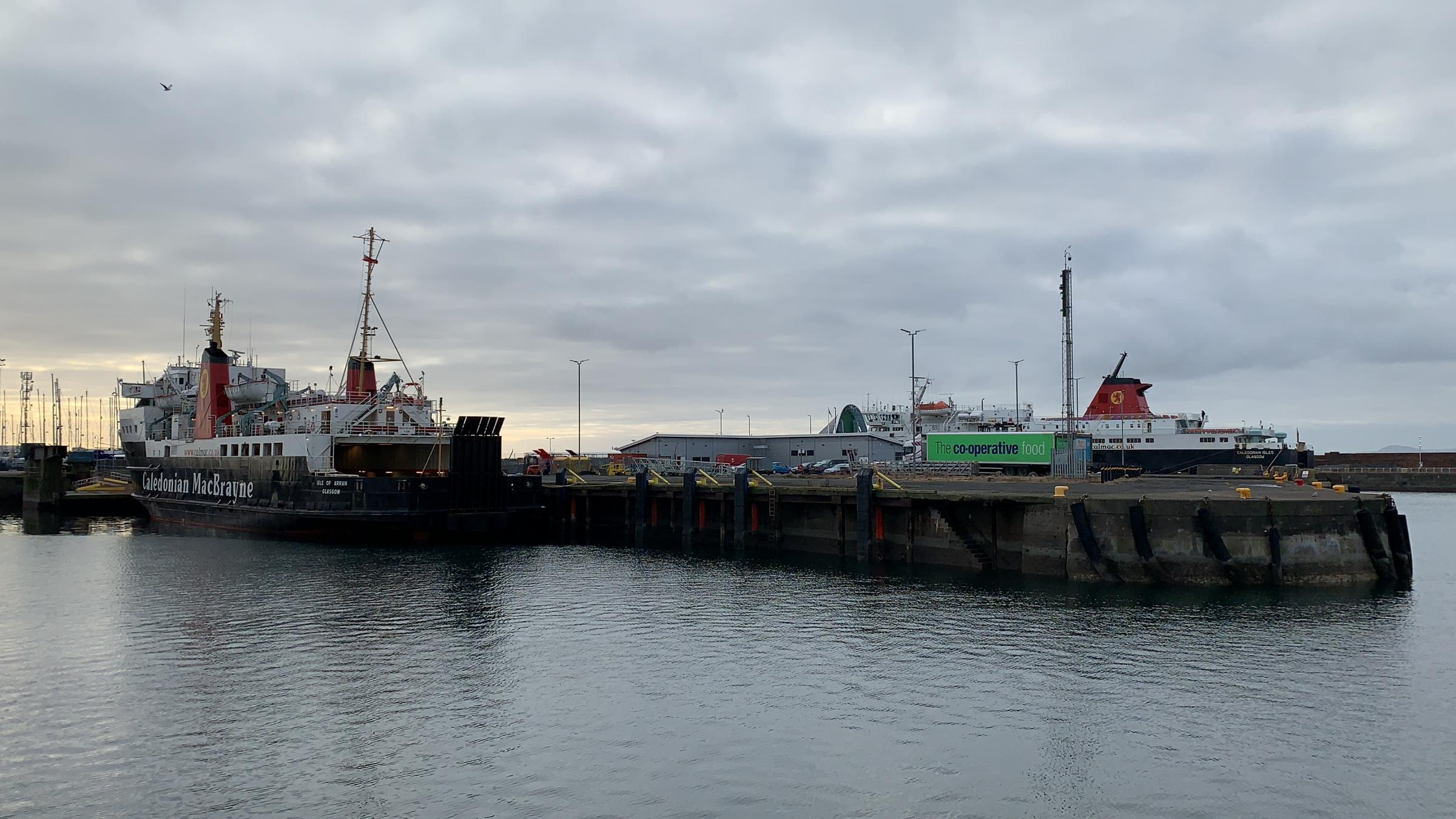 Ferries berthed at Ardrossan Harbour