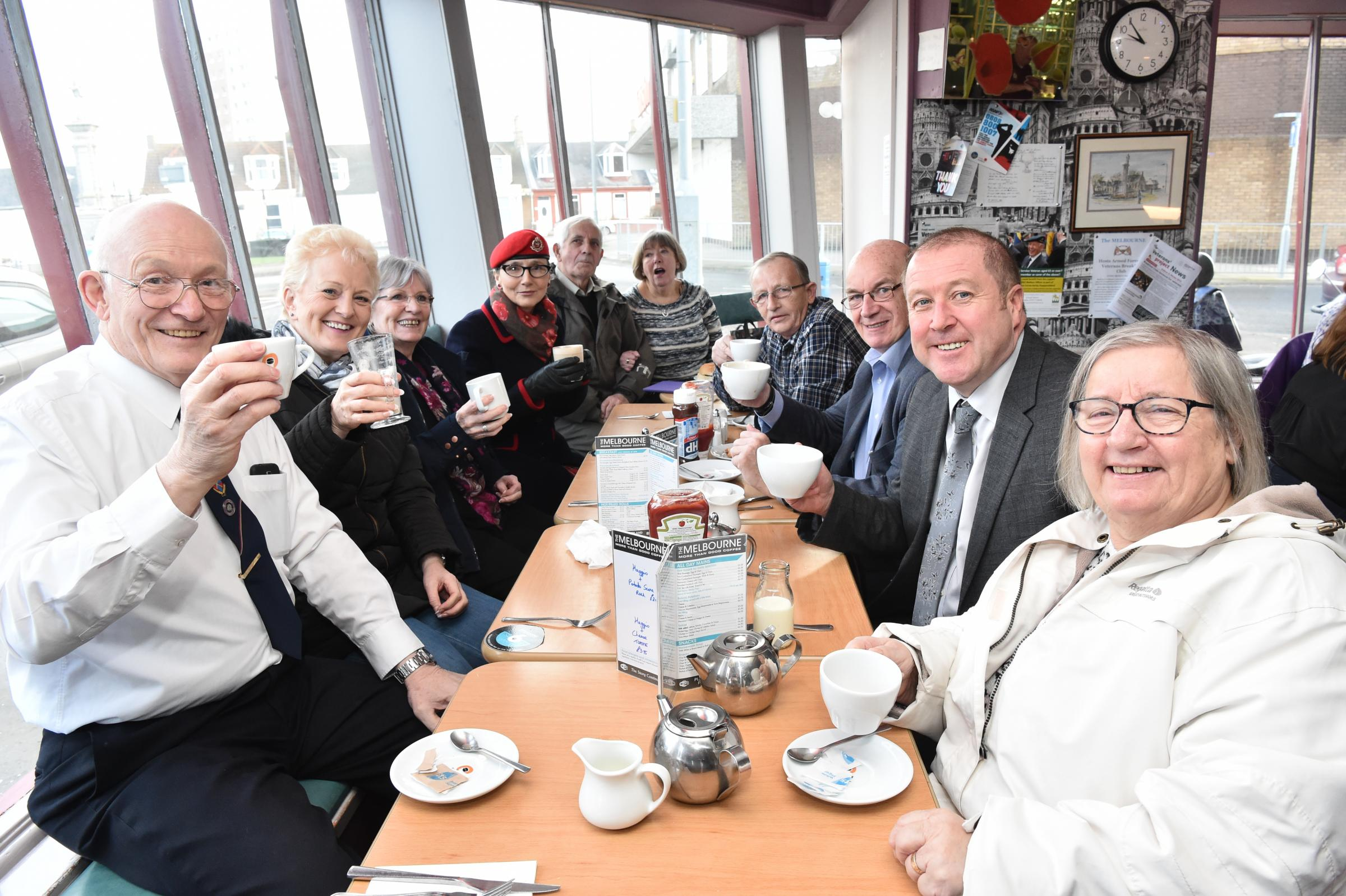 VISIT: Veteran Health Minister Mr Graeme Dey was in Saltcoats on Monday