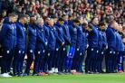 Cardiff players observe a minute's silence in honour of the late Emiliano Sala