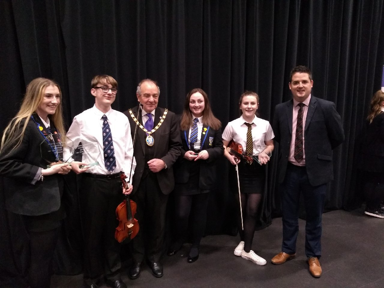AN Auchenharvie pupil was celebrating recently after he picked up a top musical award. Reece O'Hanlon of Auchenharvie Academy took the top prize in the Traditional Musician of the Year section (S4-S6) for his fiddle playing. Well done, Reece.
