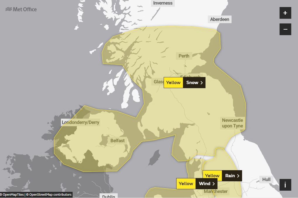 Weather warning for snow in Ayrshire this weekend