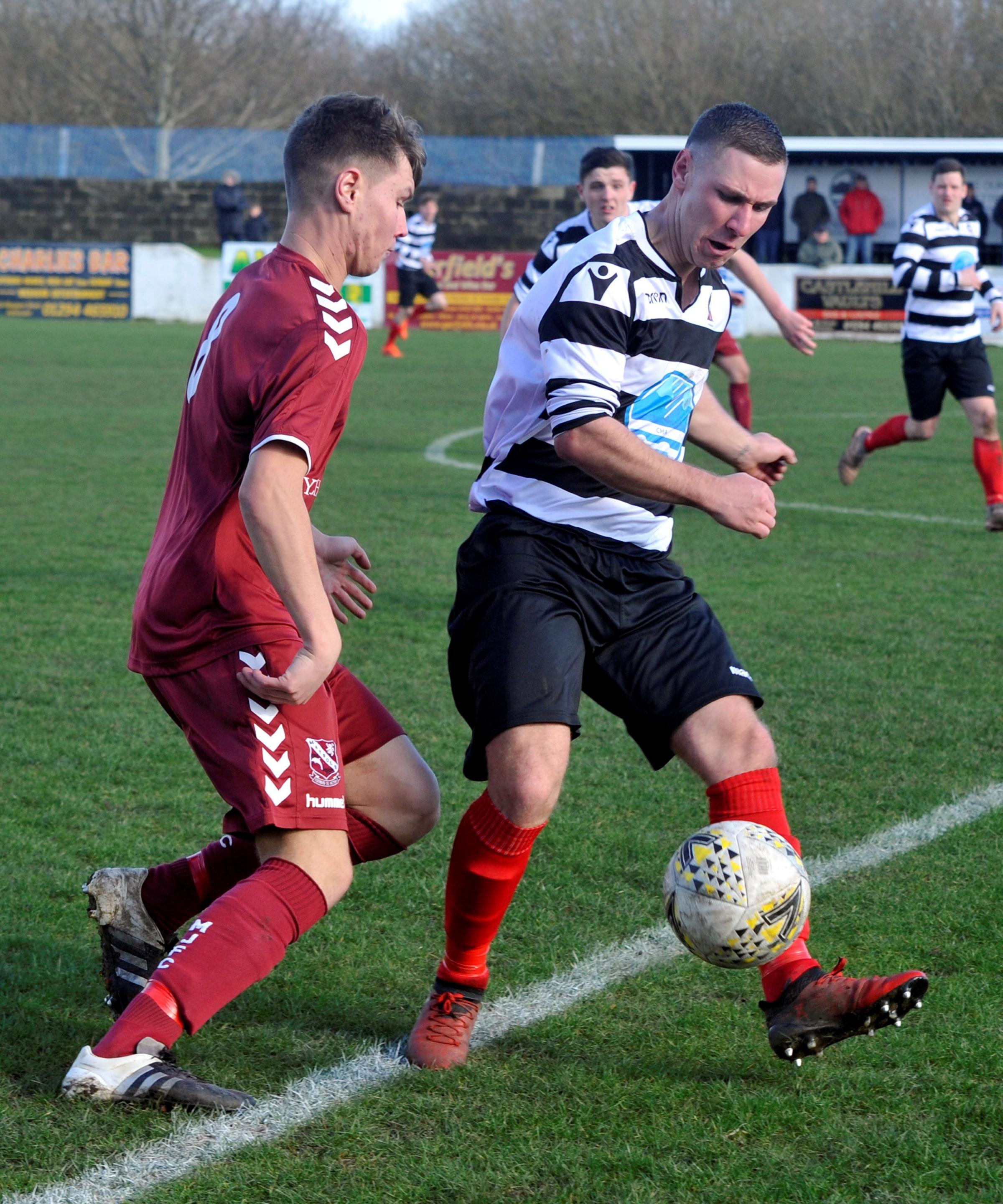 Michael Wardrope (pictured right) in action for Winton against Maybole on Saturday.