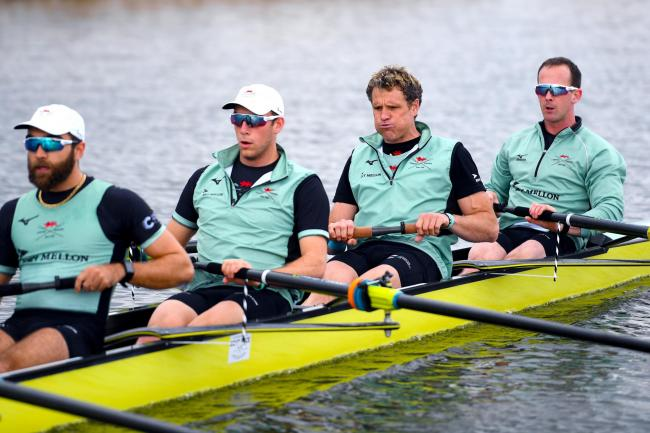 James Cracknell (second right) during the training session at Fore Mill Wash, Ely